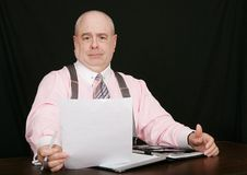 Business man on a black background Royalty Free Stock Photo