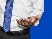 Business man black hand as if holding something. Focus on finger tips. Image royalty free stock photos