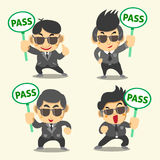 Business man in black with pass sign Stock Photos