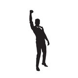 Business Man Black Silhouette Excited Hand Up Success Full Length Over White Background Stock Image