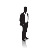 Business Man Black Silhouette Standing Full Length Over White Background Hands In Pockets Stock Photos