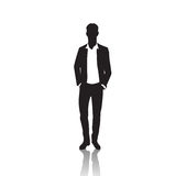 Business Man Black Silhouette Standing Full Length Over White Background Hands In Pockets Stock Image
