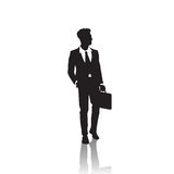 Business Man Black Silhouette Standing Full Length Over White Background Hold Briefcase. Vector Illustration Royalty Free Stock Image