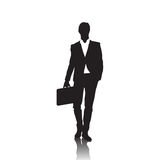 Business Man Black Silhouette Standing Full Length Over White Background Hold Briefcase Stock Photography
