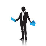 Business Man Black Silhouette Standing Full Length Over White Background Hold Folder Royalty Free Stock Photography