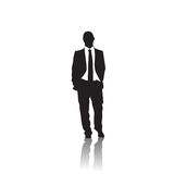 Business Man Black Silhouette Standing Full Length Over White Background. Vector Illustration Royalty Free Stock Photo