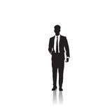 Business Man Black Silhouette Standing Full Length Over White Background Stock Images