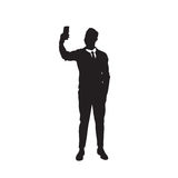 Business Man Black Silhouette Using Cell Smart Phone Full Length  Stock Photography