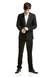 Business man with black suit Royalty Free Stock Image