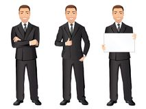 Business man in black suit in different poses. Confident handsome man, full length, dress code. Stock Photography