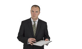 Business man in black suit. Isolated on white background Stock Image