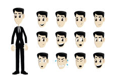 Business man in black suit with multiple expressions. A business man in a black suit with multiple expressions sad, happy, surprised, fun, curious, charming Royalty Free Stock Photos