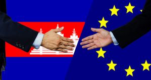 A business man shake each other hand, Cambodia and EU stock photos