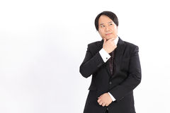 business man in black suit thinking something Royalty Free Stock Photography