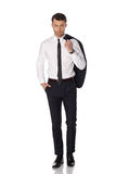 Business man in black suite on white background Stock Image