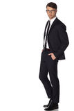 Business man in black suite on white background Royalty Free Stock Photo