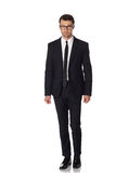 Business man in black suite on white background Royalty Free Stock Photography