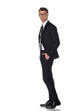 Business man in black suite on white background Stock Images