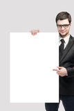 Business man and blank board. On white background stock photo