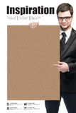 Business man and blank board. On white background royalty free stock photo