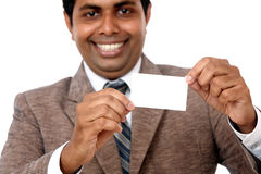 Business man with blank card Royalty Free Stock Photography
