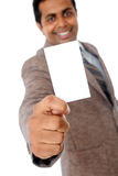 Business man with blank card Royalty Free Stock Photos
