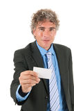 Business man with blank card Stock Photos
