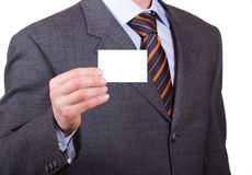 Business man with blank personal card Stock Photography