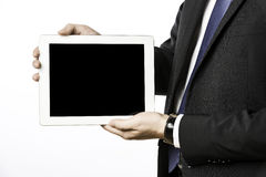 Business man with blank tablet computer Stock Image