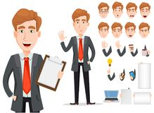 Business man with blond hair, cartoon character creation set. Young handsome smiling businessman in smart casual clothes. Build your personal design - stock vector illustration