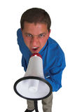 Business man in blue #5. Man shouting through a megaphone Royalty Free Stock Photo