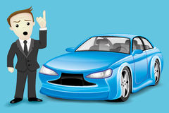 Business man and blue car Stock Photography