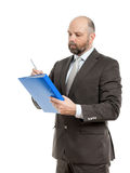 Business man with blue folder Royalty Free Stock Images
