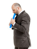 Business man with blue folder Royalty Free Stock Photography