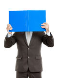 Business man with blue folder. An image of a handsome business man with a blue folder royalty free stock photo
