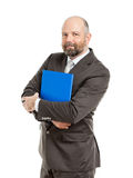 Business man with blue folder. An image of a handsome business man with a blue folder royalty free stock photography