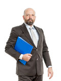 Business man with blue folder Royalty Free Stock Photos