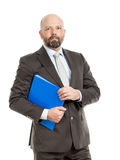 Business man with blue folder. An image of a handsome business man with a blue folder stock photo