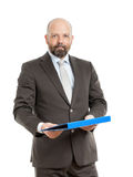 Business man with blue folder. An image of a handsome business man with a blue folder stock photography