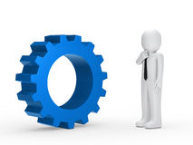 Business man blue mechanical gear Royalty Free Stock Photography