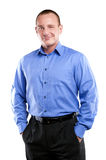 Business man in blue shirt standing apron isolated. Stock Images