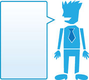 Business man with blue speech bubble Royalty Free Stock Photos