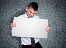 Business man with board Stock Photo
