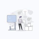 Business Man Board Finance Graph Working Laptop Computer Professor Teacher Seminar Training Conference. Vector Illustration Stock Image