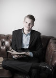 Business man with books Royalty Free Stock Photography