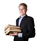 Business man with books Royalty Free Stock Image