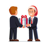 Business Man Boss Giving Gift Box To Employee Stock Images