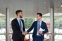 Business Man Boss Hand Shake Welcome Gesture, Businessman Handshake Sign Up Contract Modern Office Royalty Free Stock Image