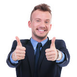 Business man with both thumbs up Royalty Free Stock Image