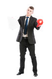Business man with boxing gloves holding contract Stock Photos
